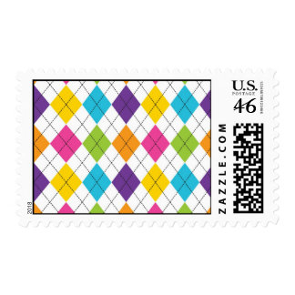 Colorful Rainbow Argyle Diamond Pattern Teen Gifts Postage Stamps