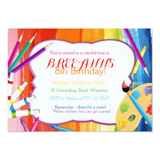 Colorful Rainbow Art Party Invitation
