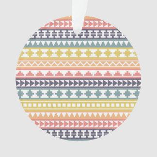 Colorful Rainbow Aztec Pattern Ornament