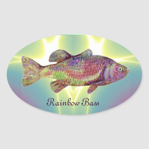COLORFUL RAINBOW BASS OVAL STICKER