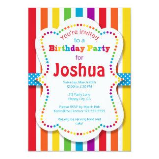 Colorful Rainbow Birthday Party Invitation