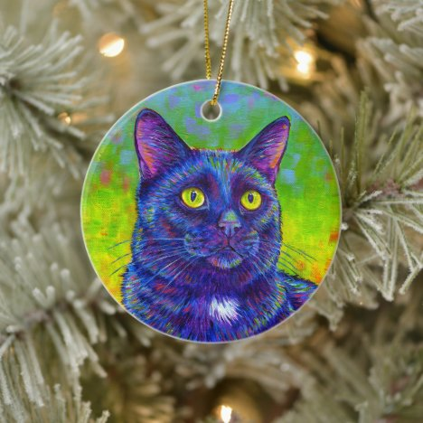 Colorful Rainbow Black Cat Ceramic Ornament