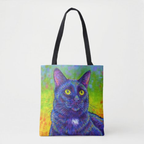 Colorful Rainbow Black Cat Cute Kitty Tote Bag
