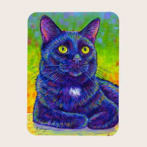 Colorful Rainbow Black Cat Flexible Magnet