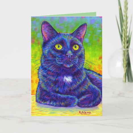Colorful Rainbow Black Cat Greeting Card