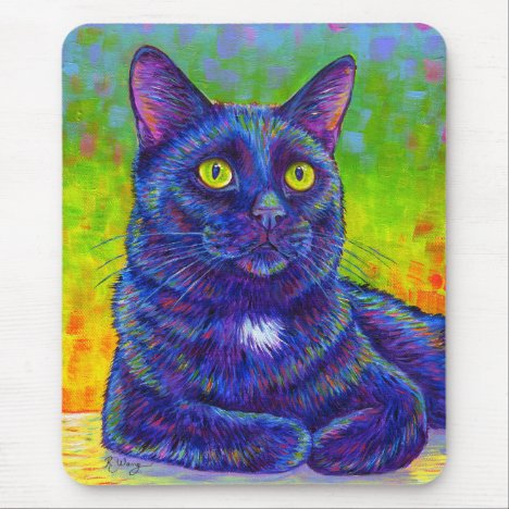 Colorful Rainbow Black Cat Mouse Pad