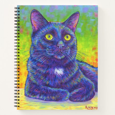 Colorful Rainbow Black Cat Spiral Notebook
