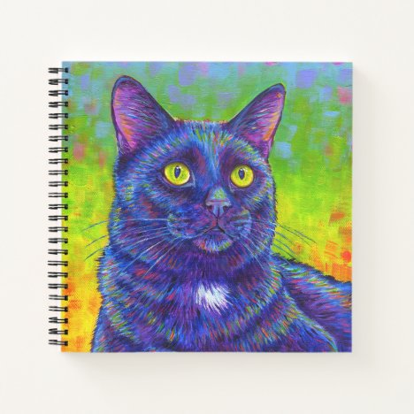 Colorful Rainbow Black Cat Square Spiral Notebook