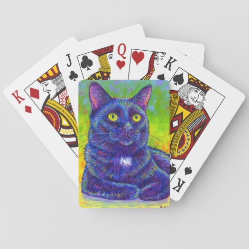 Colorful Rainbow Black Kitty Cat Playing Cards