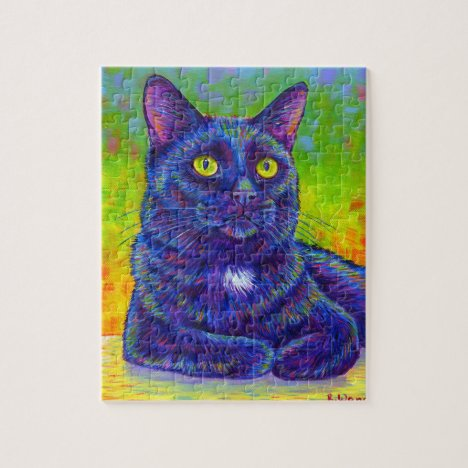 Colorful Rainbow Black Kitty Cat Puzzle