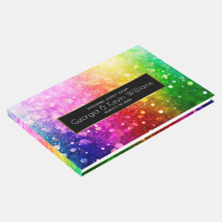 Colorful Rainbow Bokeh Glitter pattern Guest Book