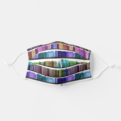 Colorful Rainbow Book shelf pattern Reading Lovers Adult Cloth Face Mask