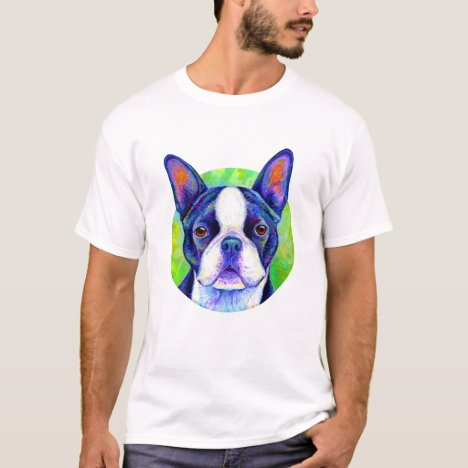 Colorful Rainbow Boston Terrier Dog T-Shirt
