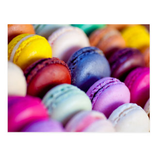 Colorful rainbow bright macarons macaron postcard