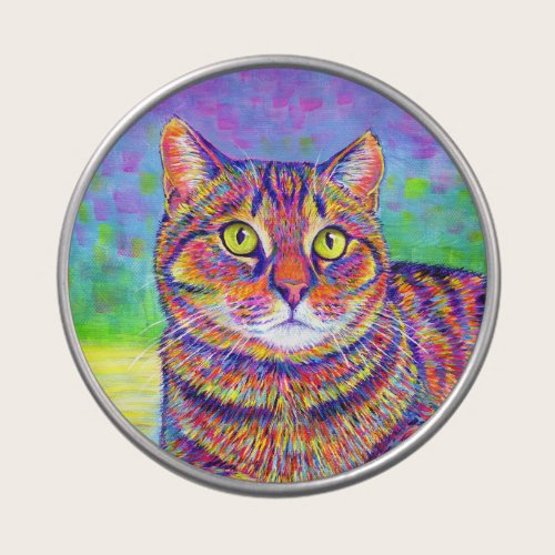 Colorful Rainbow Brown Tabby Cat Candy Tin
