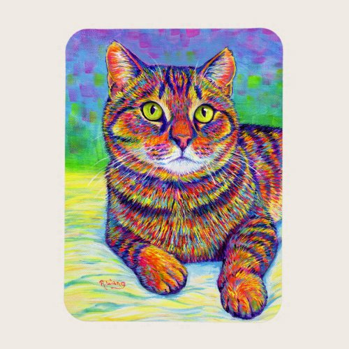 Colorful Rainbow Brown Tabby Cat Flexible Magnet
