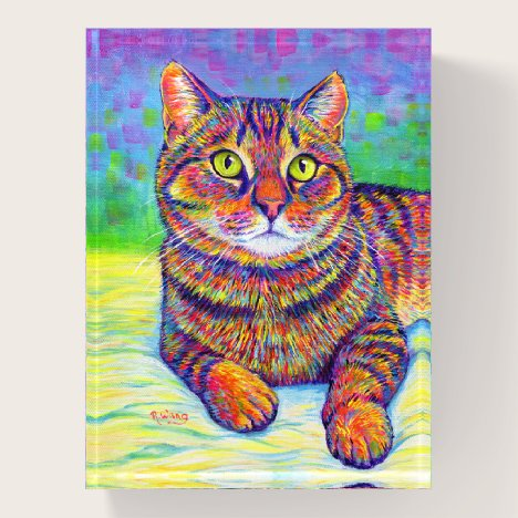 Colorful Rainbow Brown Tabby Cat Glass Paperweight