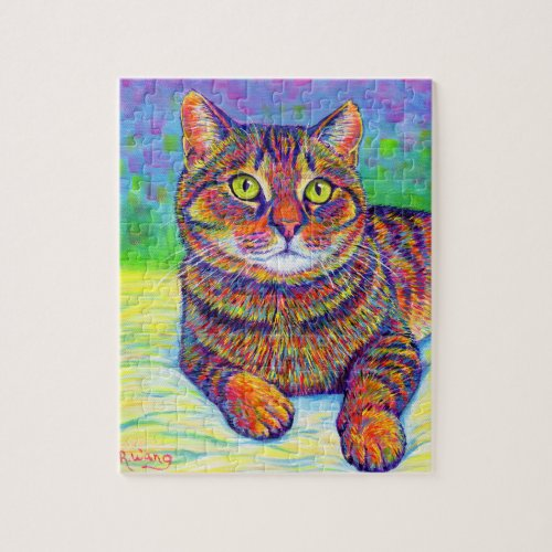 Colorful Rainbow Brown Tabby Cat Jigsaw Puzzle