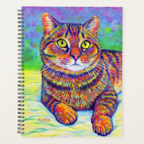 Colorful Rainbow Brown Tabby Cat Planner