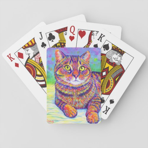 Colorful Rainbow Brown Tabby Cat  Playing Cards