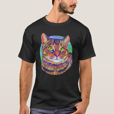 Colorful Rainbow Brown Tabby Cat T-Shirt