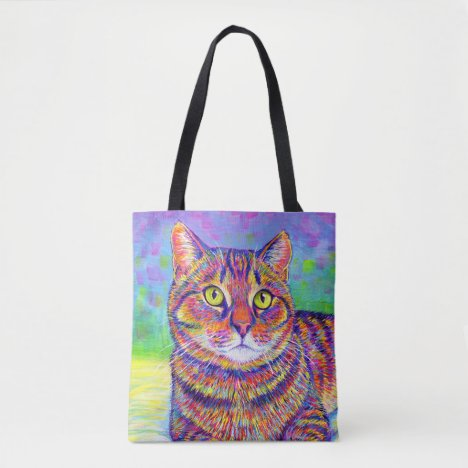 Colorful Rainbow Brown Tabby Cat Tote Bag