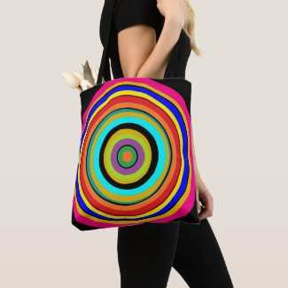 Rainbow Bulls Eye Print Fun Tote Bag
