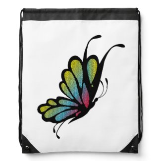 Colorful Rainbow Butterfly Drawstring Backpacks