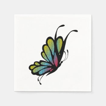 Colorful Rainbow Butterfly Napkin