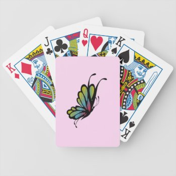 Colorful Rainbow Butterfly Pink Bicycle Playing Cards