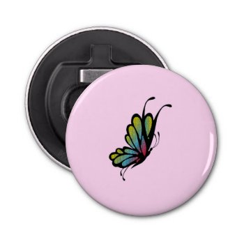 Colorful Rainbow Butterfly Pink Bottle Opener