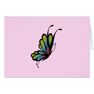 Colorful Rainbow Butterfly Pink Card