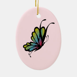 Colorful Rainbow Butterfly Pink Ceramic Ornament
