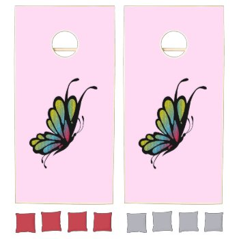 Colorful Rainbow Butterfly Pink Cornhole Set