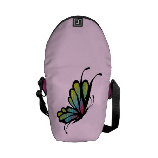 Colorful Rainbow Butterfly Pink Courier Bag