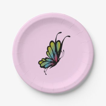 Colorful Rainbow Butterfly Pink Paper Plate