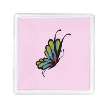 Colorful Rainbow Butterfly Pink Serving Tray