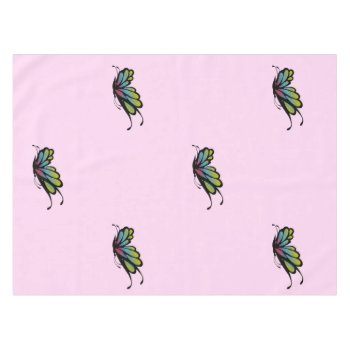 Colorful Rainbow Butterfly Pink Tablecloth