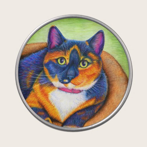 Colorful Rainbow Calico Cat Candy Tin
