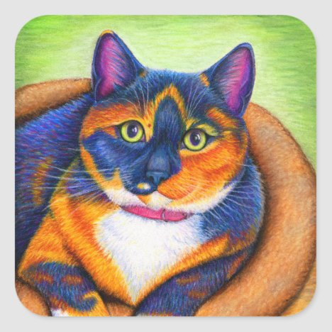 Colorful Rainbow Calico Cat Stickers