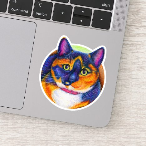 Colorful Rainbow Calico Cat Vinyl Sticker