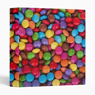 Colorful rainbow candy sweets 3 ring binder