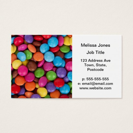 Colorful rainbow candy sweets business card