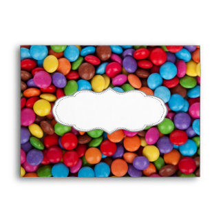 Colorful rainbow candy sweets envelope