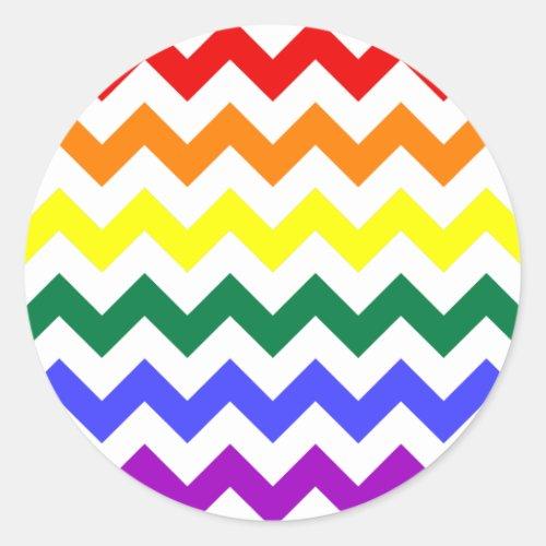 Colorful Rainbow Chevron Pattern Classic Round Sticker