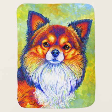 Colorful Rainbow Chihuahua Cute Dog Baby Blanket