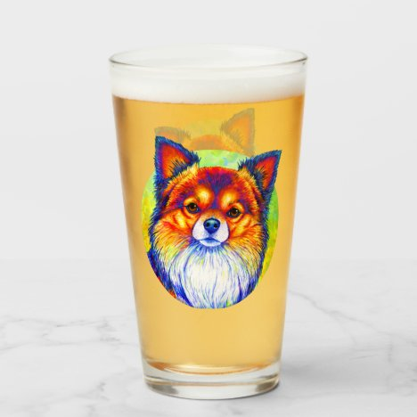 Colorful Rainbow Chihuahua Cute Dog Glass Cup