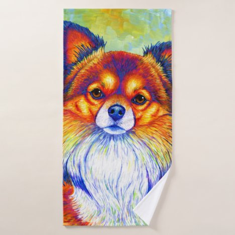 Colorful Rainbow Chihuahua Dog Bath Towel Set