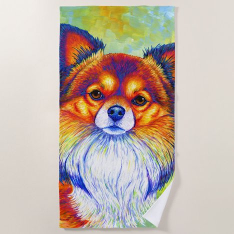 Colorful Rainbow Chihuahua Dog Beach Towel