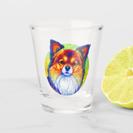 Colorful Rainbow Chihuahua Dog Shot Glass